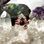 Red Tiger Eye Adjustable Copper Herringbone Ring